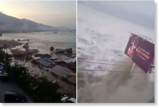 A gigantic tsunami has crashed into the Indonesian coast