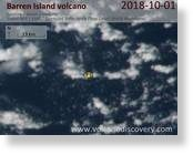 Satellite image from Barren Island yesterday showing a gas or ash plume drifting NW