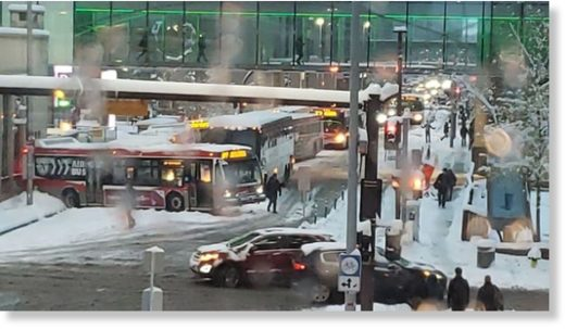 Calgary Transit buses were no match for Tuesday morning's snow-covered roads.