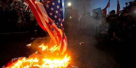 American flag burning