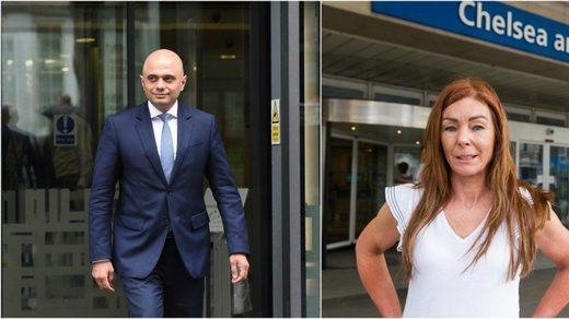 Home Secretary Sajid Javid and medical cannabis activist Charlotte Caldwell