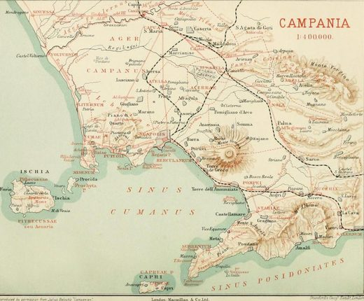 1908 Map of Vesuvius and the Bay of Naples