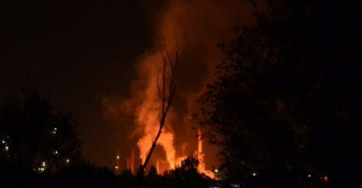 Explosion at oil refinery in Brod, Bosnia