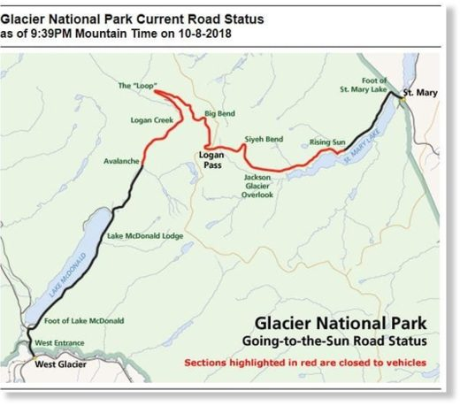 Glacier National Park Current Road Status as of 9:39PM Mountain Time on 10-8-2018