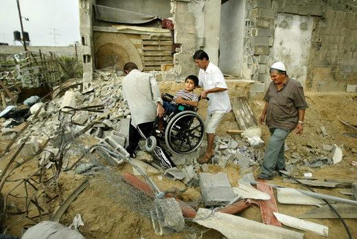 disabled palestinina gaza rubble