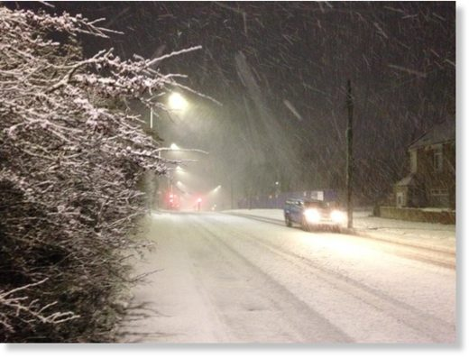The first snow of the season is falling in County Durham.