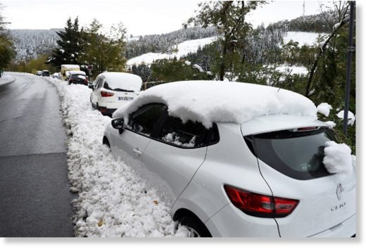 The Route National 88 in central France were hundreds of motorists were left stranded by the snow.