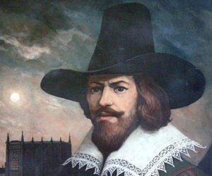 A portrait of Guy Fawkes, who was executed for 'the gunpowder plot.
