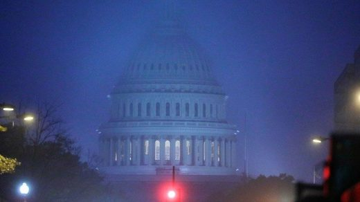The U.S. Capitol building is seen at sunrise