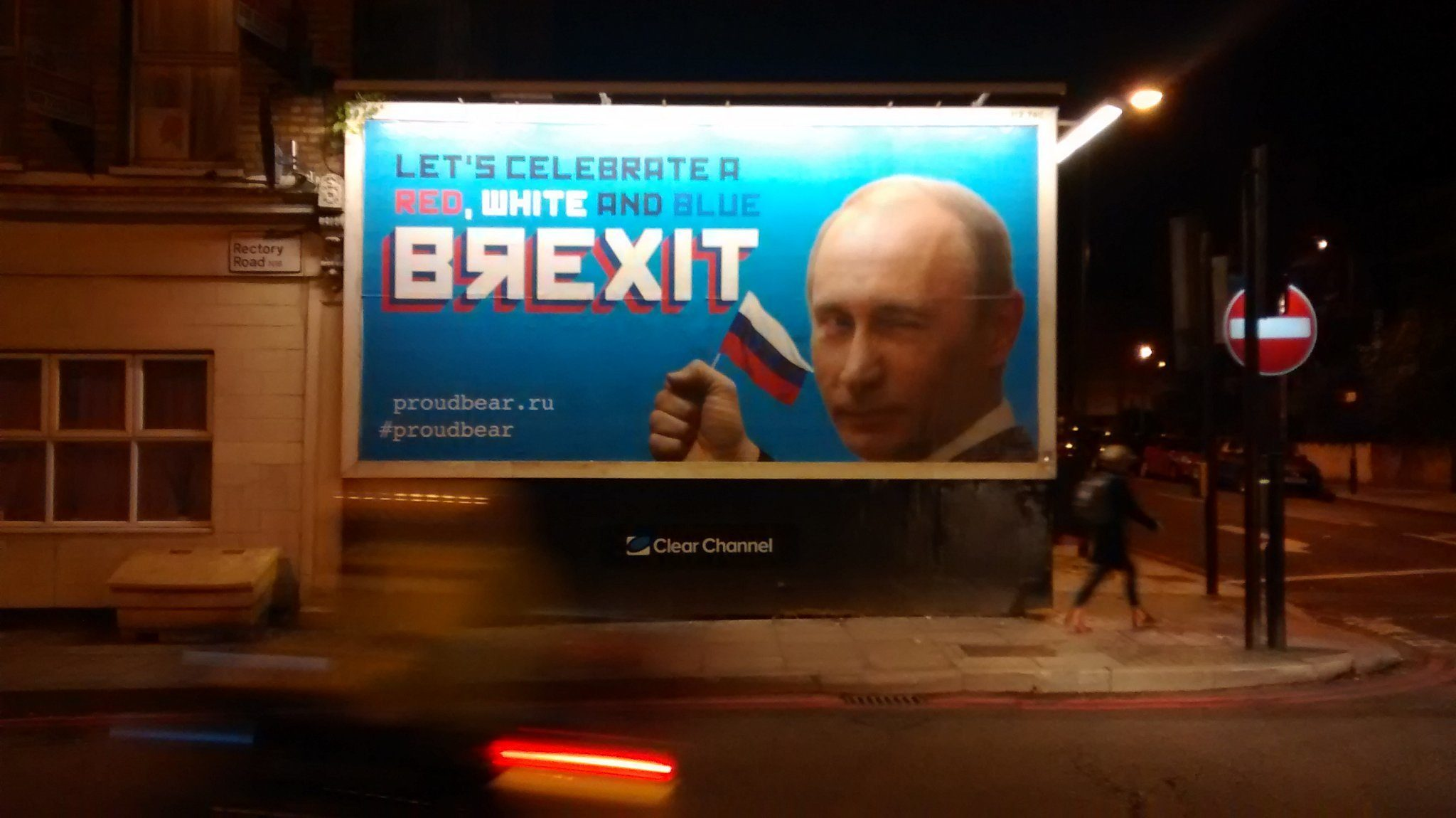 Epic troll: #Pr0udBear billboards pop up in UK celebrating Putin's Brexit victory -- Sott.net