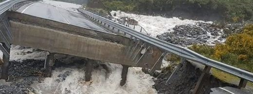 Bridge collapse on South Island, New Zealand