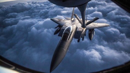 A US Air Force F-15 aerial refueling