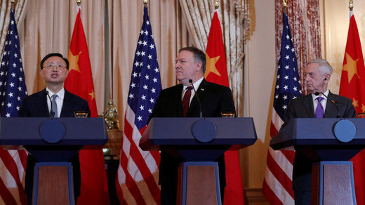 Mike Pompeo and James Mattis listen to China's Foreign Affairs Director Yang Jiechi, November 9, 2018