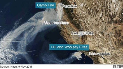 california wildfires 2018 satellite