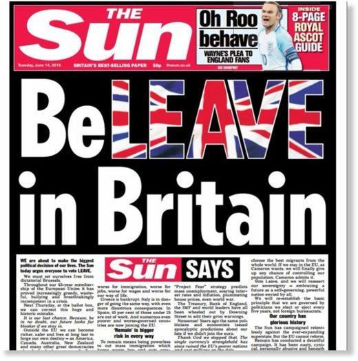 Sun paper Brexit headline
