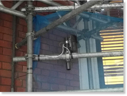 Surveillance device attached to scaffolding outside the Ecuadorian embassy