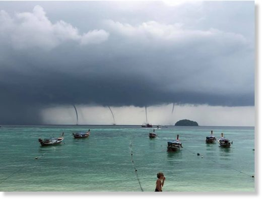 multiple waterspouts