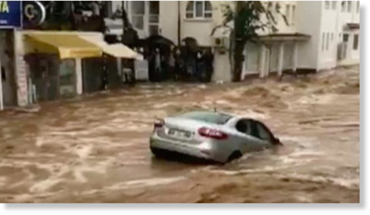 Flash floods wash away cars in Turkish holiday resort of Bodrum