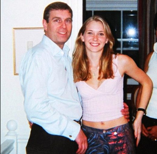 Prince Andrew poses with Virginia Roberts