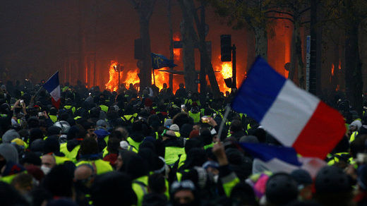 yellow vest protest france flag