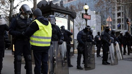 Riot police search France