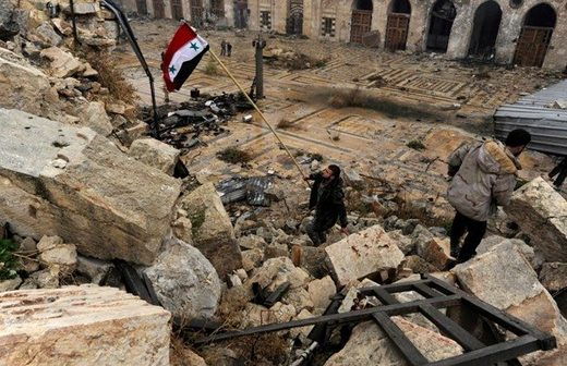 Syria flag rubble mosque