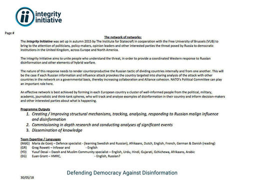 Integrity Initiative Russia project
