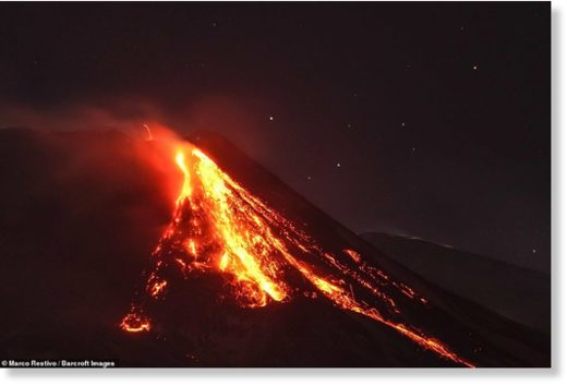 The temperature inside the volcano is believed to be 1,000 degrees Centigrade, or 1,832 degrees Fahrenheit.