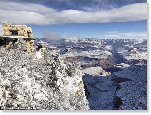 This Tuesday, Jan. 1, 2019, photo shows Lookout Studio in Grand Canyon Village on the South Rim of Grand Canyon National Park, in Arizona.