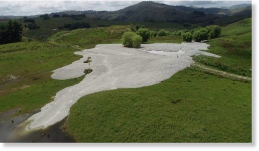 The mud volcano formed between two farms in the Waimata Valley, near Gisborne.