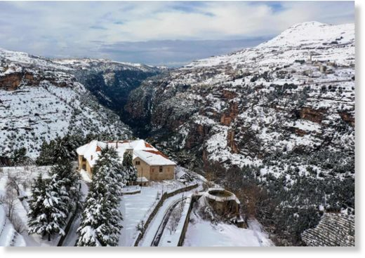 Aerial view of the Unesco world heritage site of the Qadisha valley and the Christian Maronite monastery of Saint Alichaa that flanks the Cedars area in the Lebanese mountains