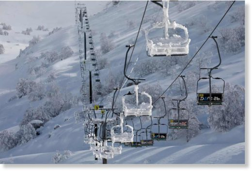 A snow-covered cable car at the Mount Hermon ski resort, in the Israeli-occupied Golan Heights