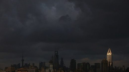 storm clouds over city