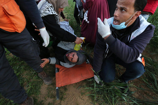 injured gaza protester march of return