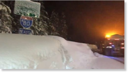 Snow piling up Wednesday night at Soda Springs.