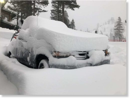 Snow pileup shown the morning of Wednesday,