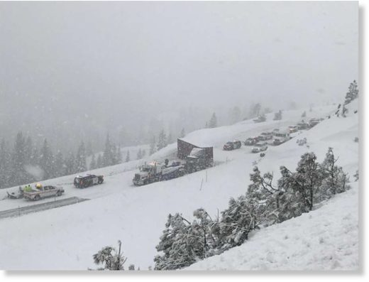 A jackknifed truck closed I-80 eastbound Wednesday afternoon.