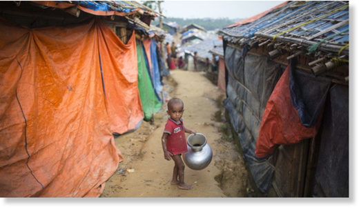 Rohingya children inside refugee camp