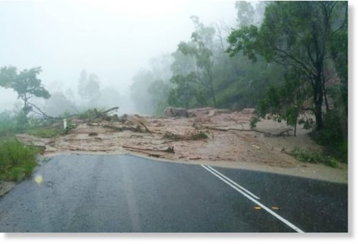 The heavy rain caused a land slip that cut this