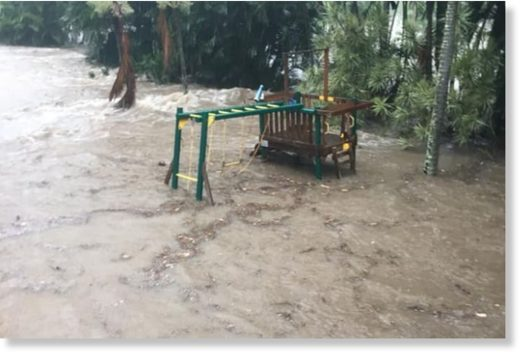 Flooding in the backyard and bottom level of a