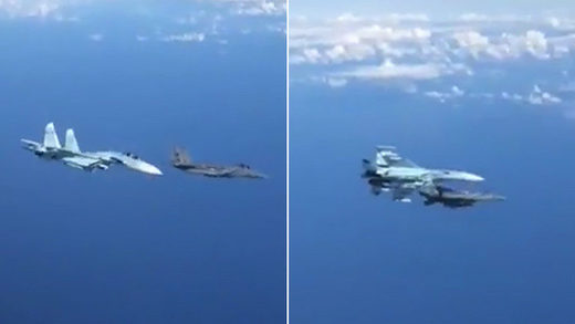Russian Su-27 filmed confronting F-15 in a daring maneuver mid-air