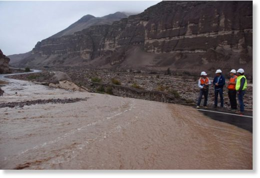 Flooding has cut roads in Arica, Chile,