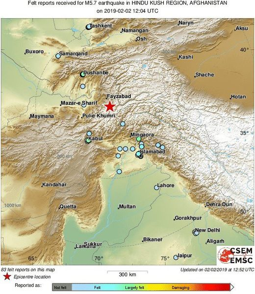 earthquake afghanistan pakistan 2019