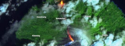 Lava flow produced by Mount Karangetang on February 3, 2019