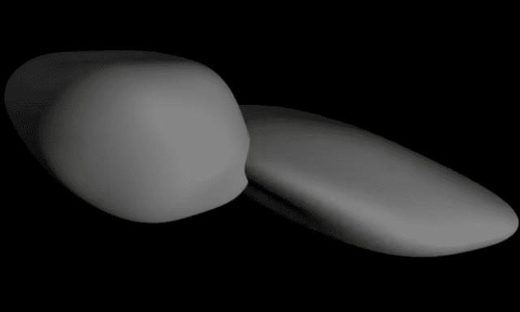 A still from a Nasa animation that depicts a shape model of Ultima Thule