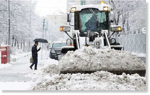 Snow clearing equipment in central Moscow