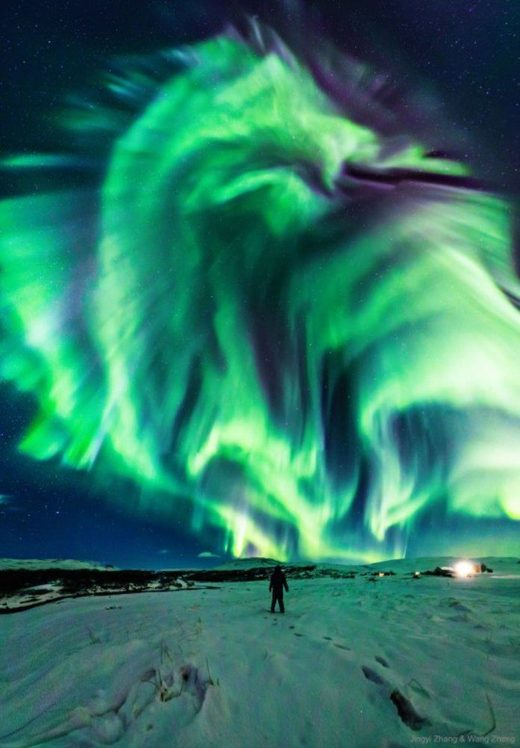 A view of the mysterious dragon aurora snapped in Iceland