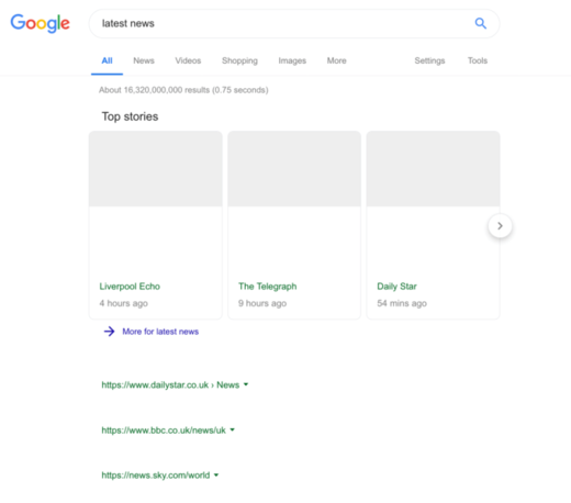 blank google page