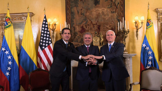 Juan Guaido pictured with Colombian President Ivan Duque and US Vice President Mike Pence at a meeting of the anti-Maduro Lima Group