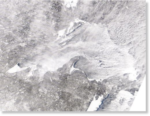 A satellite image of Lake Superior ice cover